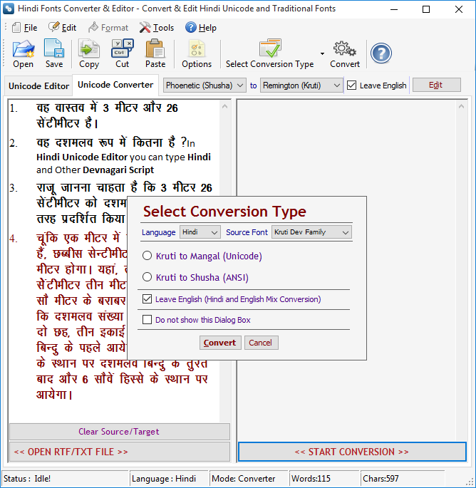 Screenshots and VBA projects are prepared in Hindi Fonts Converter
