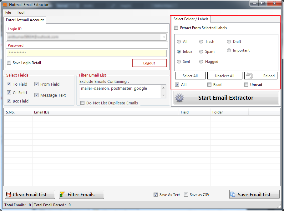Hotmail Email Extractor
