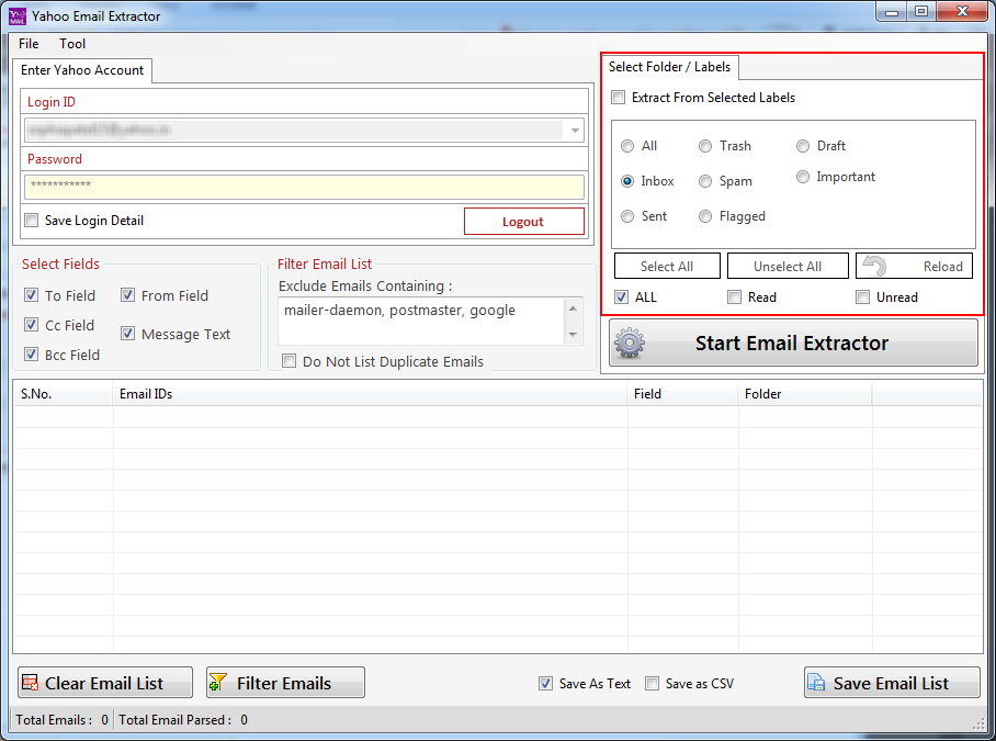 Extract email ids from Yahoo mail account within minutes